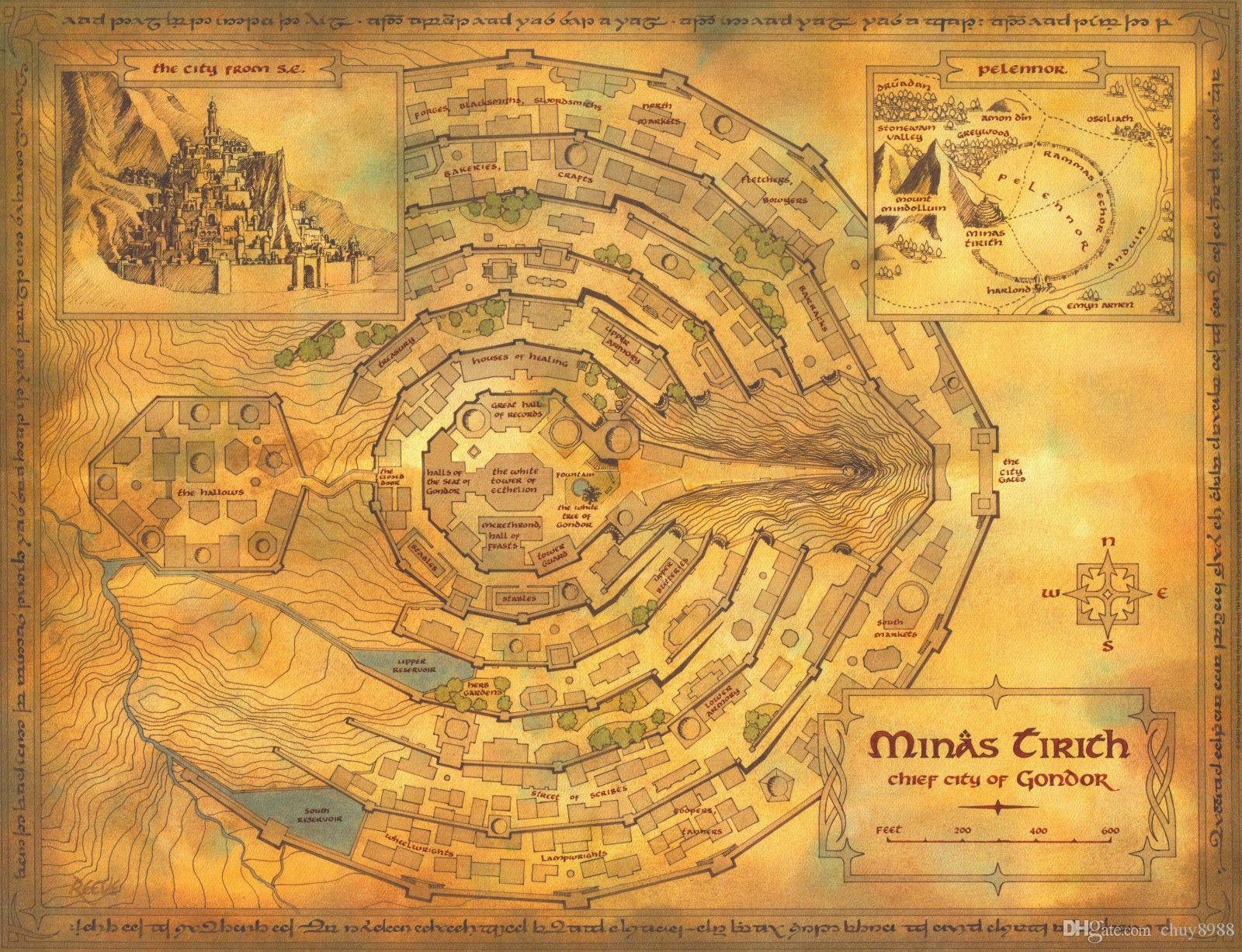 Middle Earth Map Art